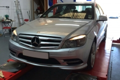 Hunter Hawkeye Elite TD four-wheel alignment on Mercedes C Class